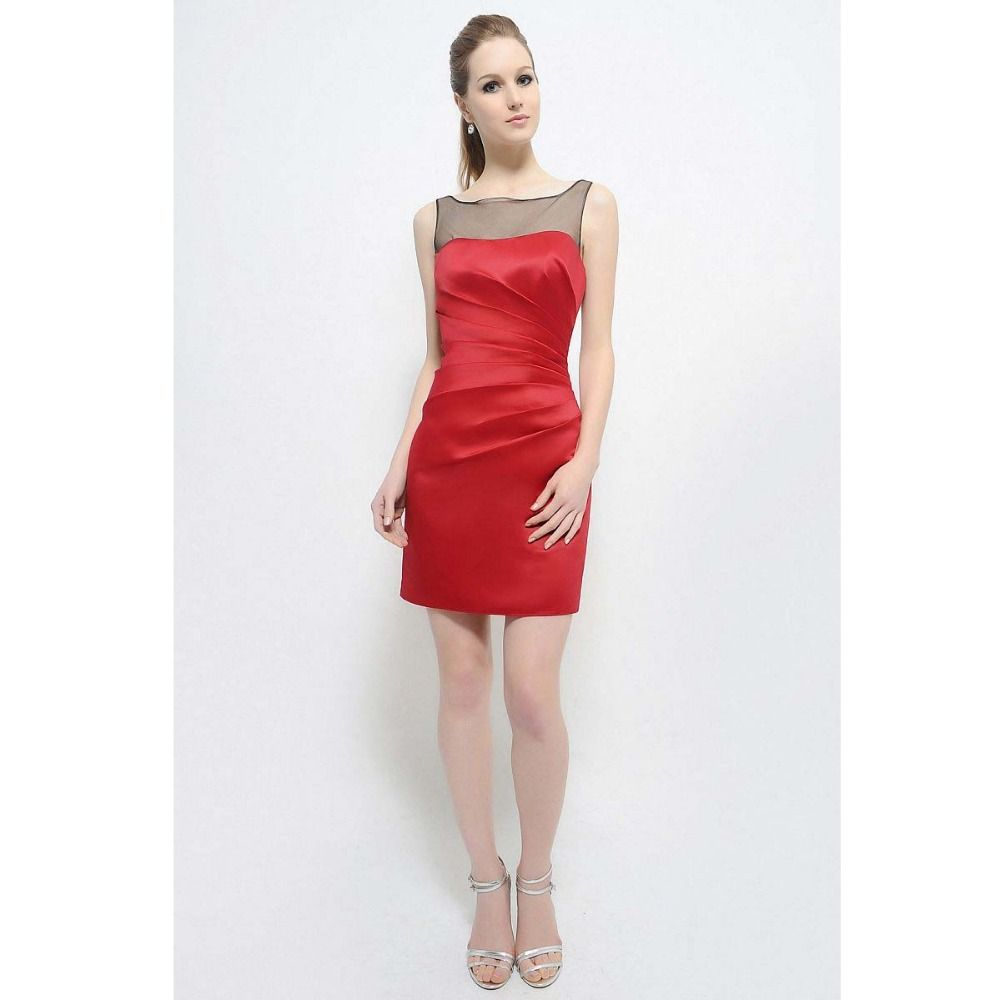 Click to buy ucuc sexy scoop sheath bridesmaid red dress satin party
