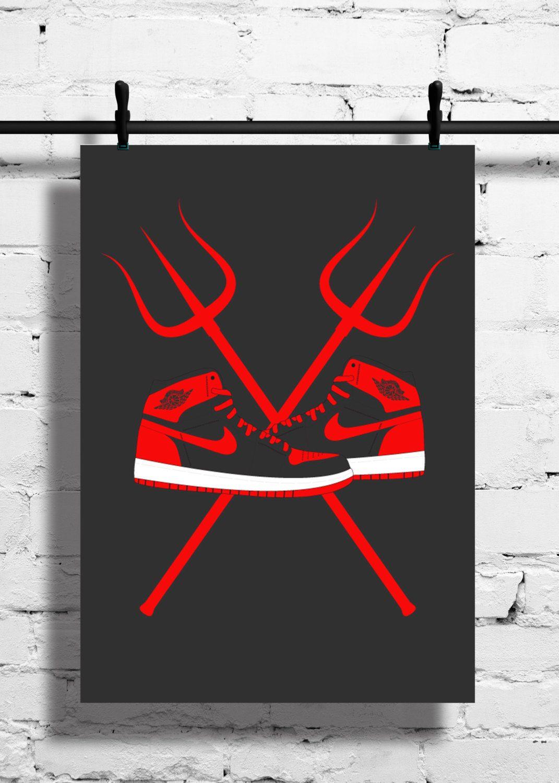 best loved 3f9d7 c41ba Nike Air Jordan 1 Bred Poster – 1985 – Sneaker Print – A4 - A3 – Trainer –  Black – Red – Devil Colours – Art – Sneaker - Basketball - Sport by ...