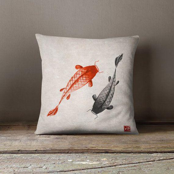 Oriental Pillow Koi Carps Asian By Wfrancisdesign