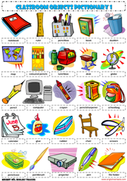Office furniture icon png - Classroom Objects Supplies 1 Pictionary Poster Worksheet