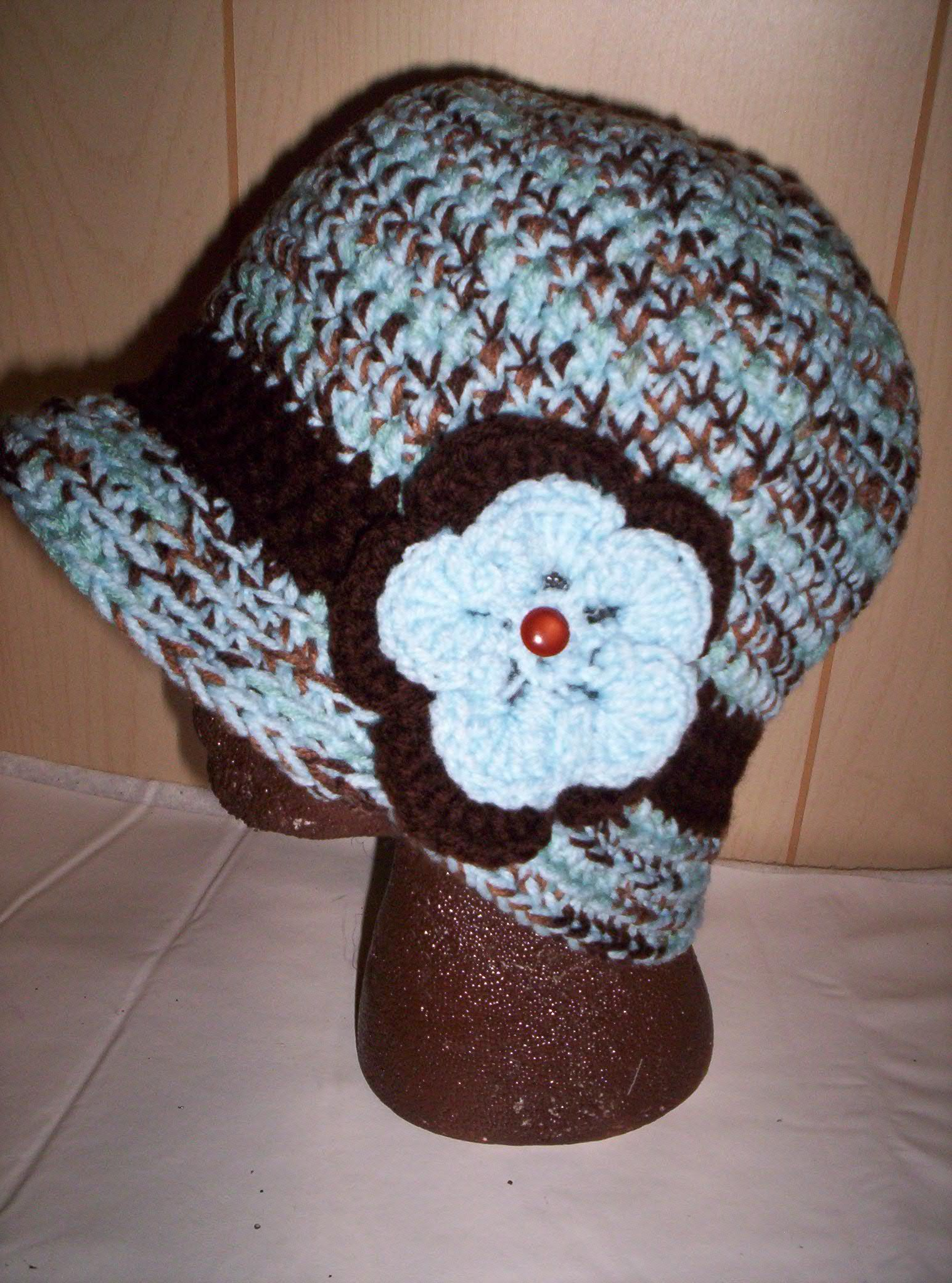 Crochet Hat Made With Two Strands Crochet Flower On Side