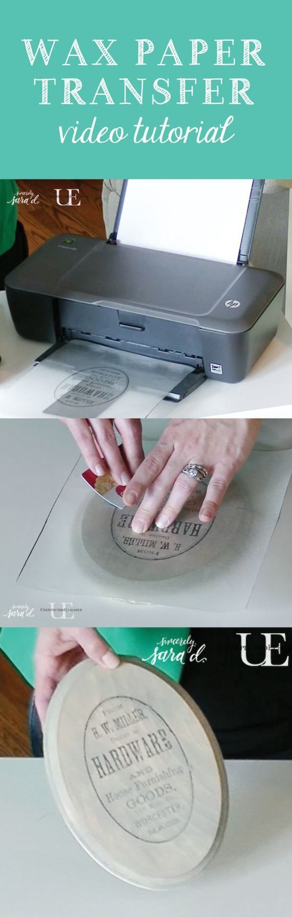 Video Tutorial: Using wax paper to transfer an image- diy crafts idea- great project