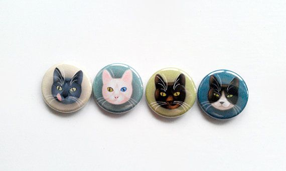 fashion pinback buttons  1 inch diameter  4 cats by elelands, €4.50