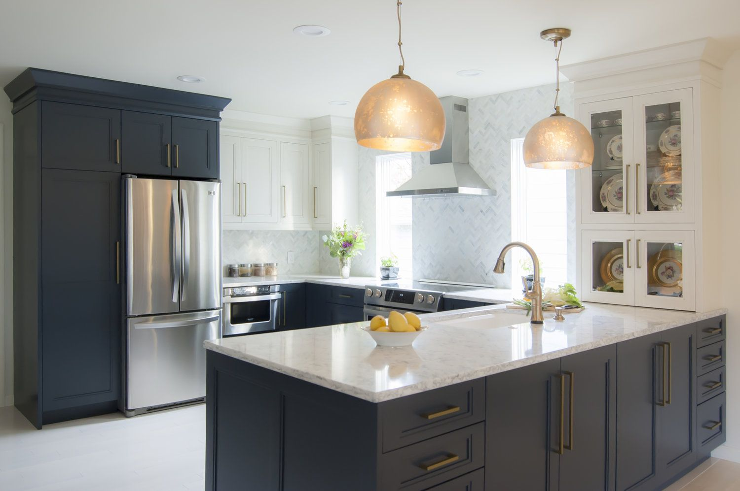 Navy Cabinets With Quartz Countertops Peninsula With Pendant