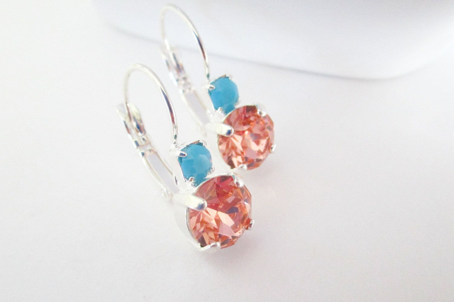 Items similar to Bridesmaids Earrings, Rose Peach, Turquoise, Coral Earrings, Swarovski Crystal, Beach Wedding Jewelry, Turquoise Earrings,Bridesmaid Set on Etsy