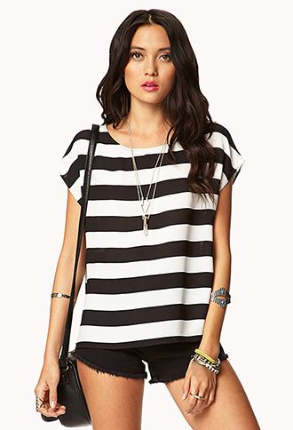 Striped Satin Top | FOREVER21 - 2017442771