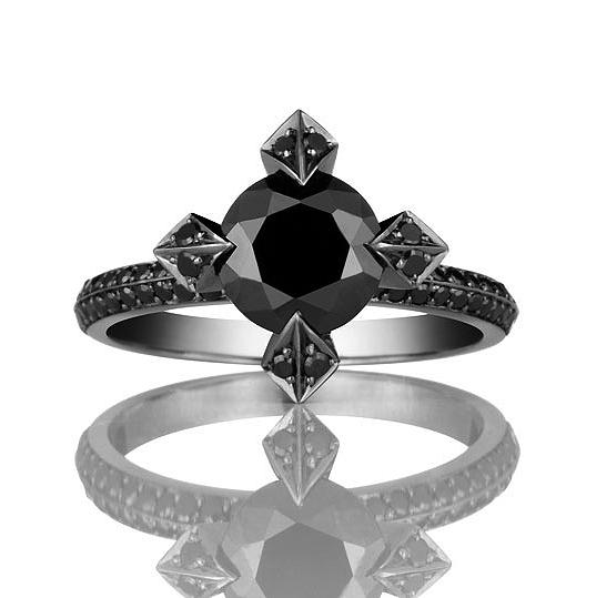 Vampire Gothic Engagement Ring Solid Platinum with Black Diamonds