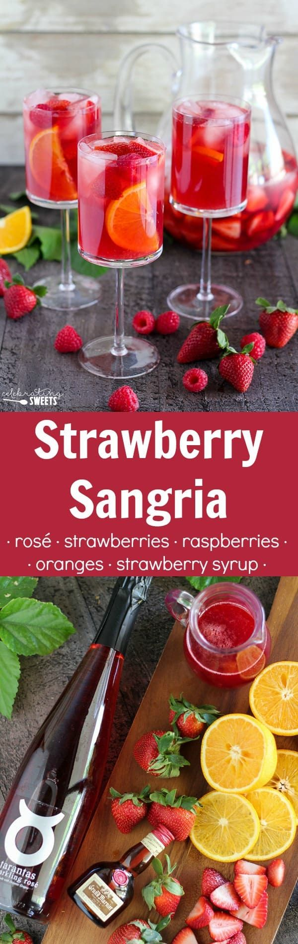 Strawberry Sangria White Wine Or Rose Flavored With Fresh Strawberries Raspberries Oranges And Homemade Strawberry Strawberry Sangria Sangria Fun Drinks