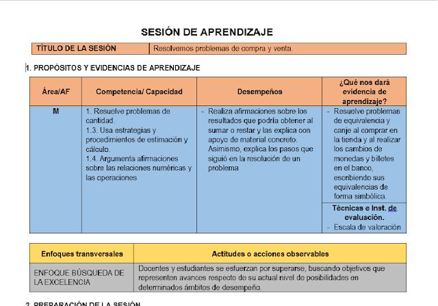 Sesiones Con Rutas Del Aprendizaje Evidencias De Aprendizaje Aprendizaje Primeros Grados