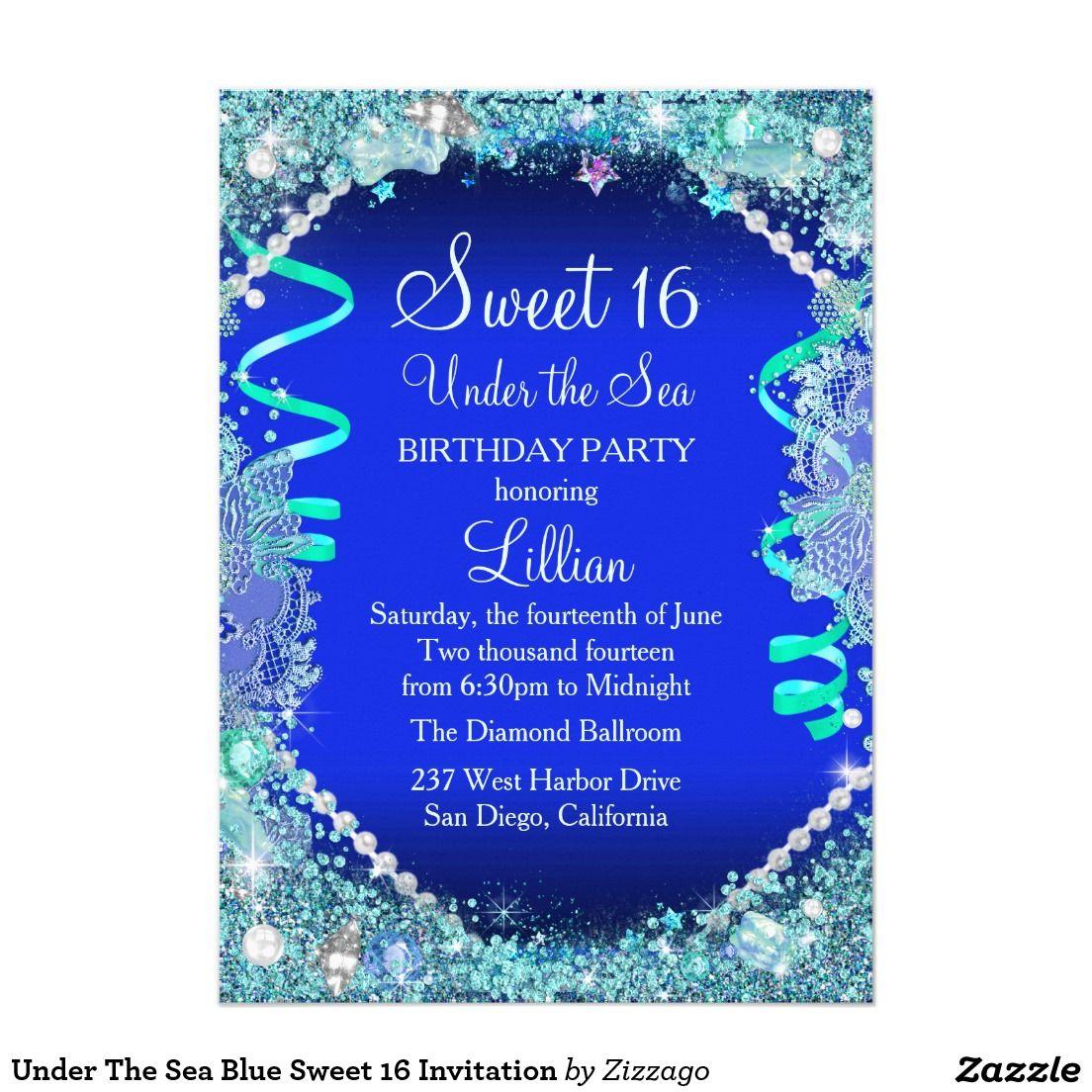 Under The Sea Blue Sweet 16 Invitation | Sweet 16 invitations, Blue ...