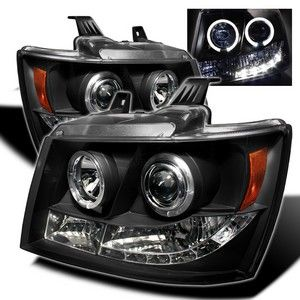 Spyder Auto | Chevy Suburban 1500/2500 07-13 / Chevy Tahoe 07-13 / Avalanche 07-13 HL LED ( Replaceable LEDs ) Projector Headlights - Black