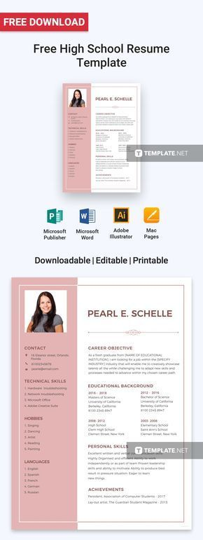 Free High School Resume Pinterest High school resume template