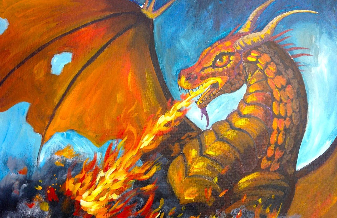 how to draw a dragon breathing fire for beginners