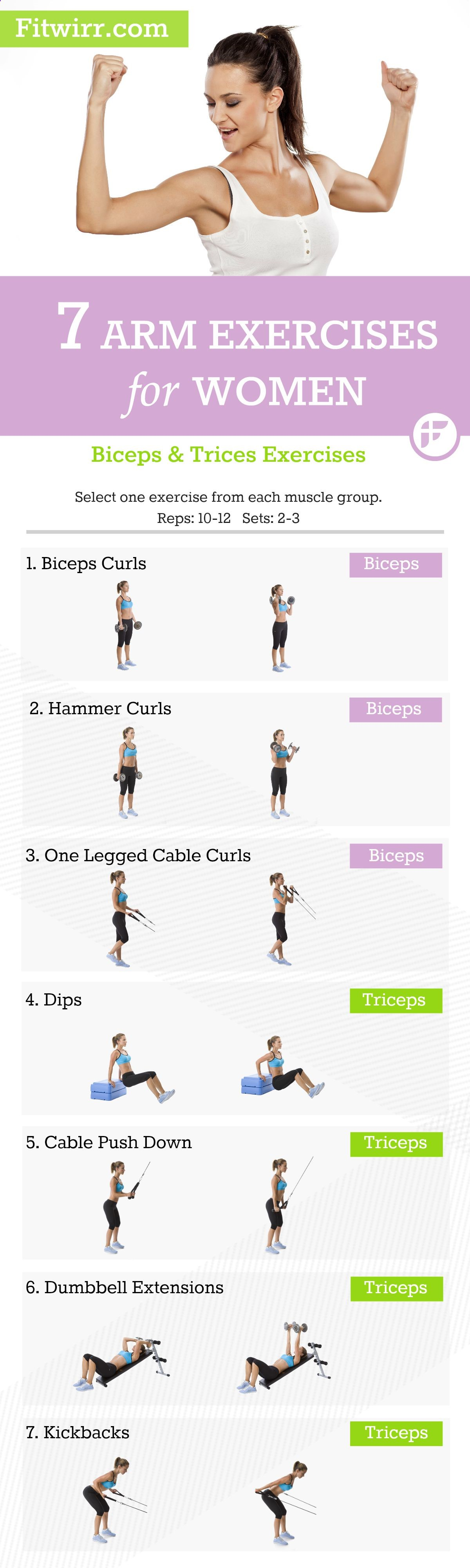 A list of 7 best arm workouts for women to get toned and lean arms ...