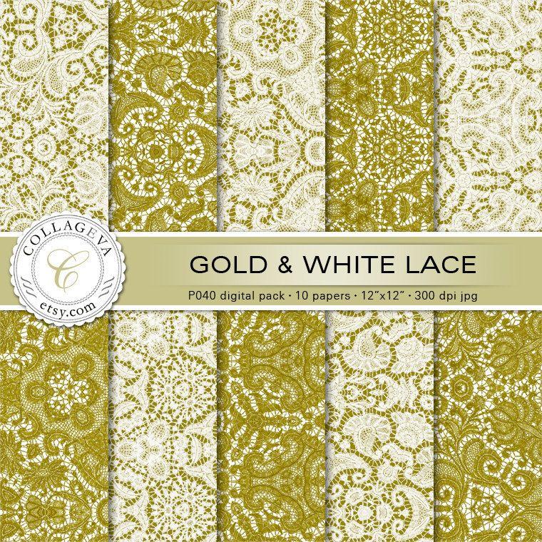 Gold Lace White Crochet 10 Digital Paper, Printable Sheets, 12x12 ...