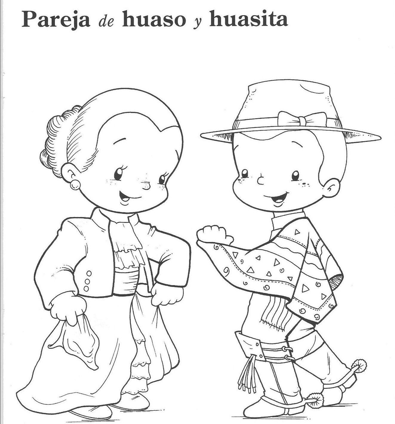 Huasos bailando Cueca, dibujos en blanco y negro para colorear El ...