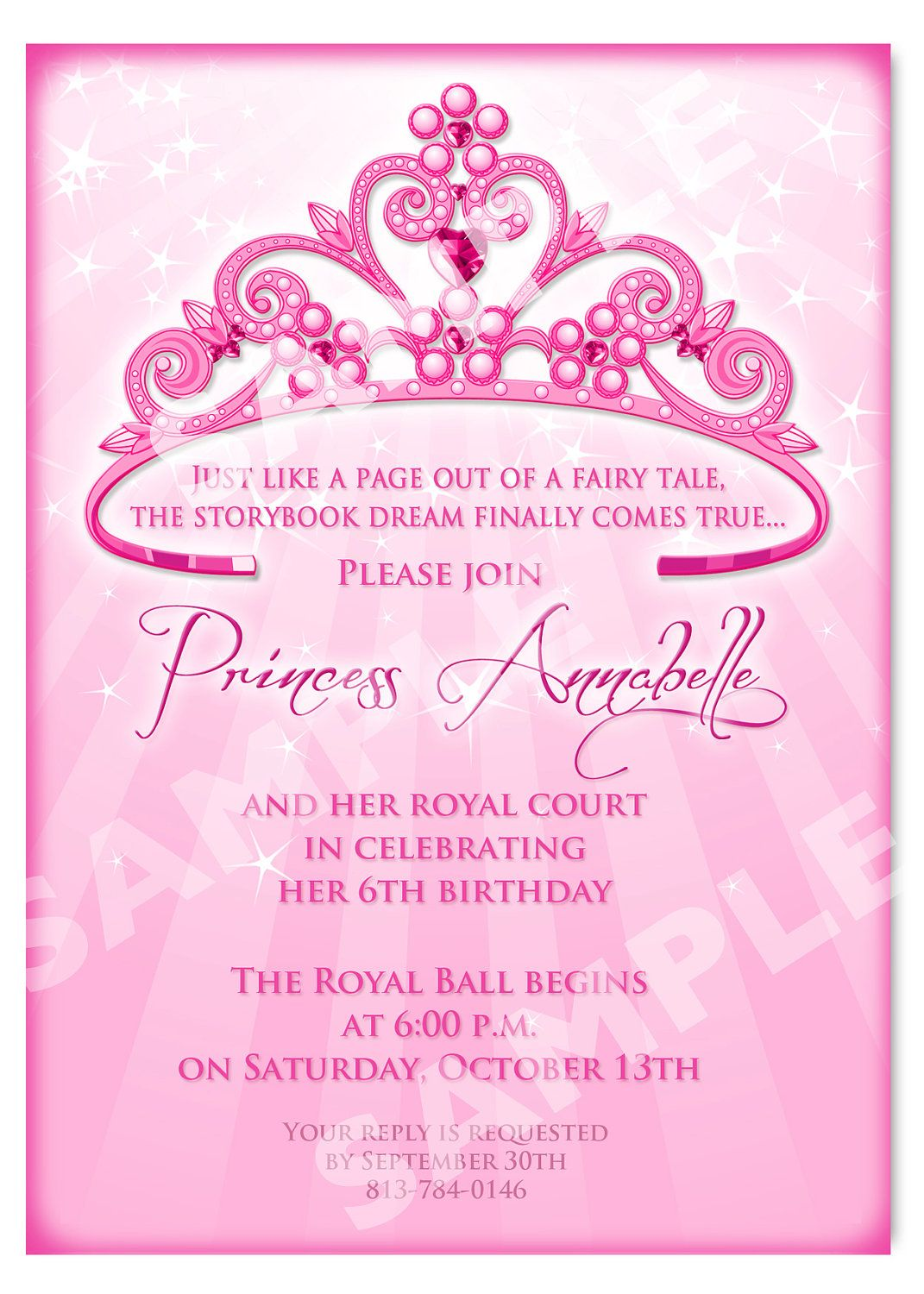 Princess Birthday Invitation DIY Princess By Artisacreations  Birthday Invitation Template Printable