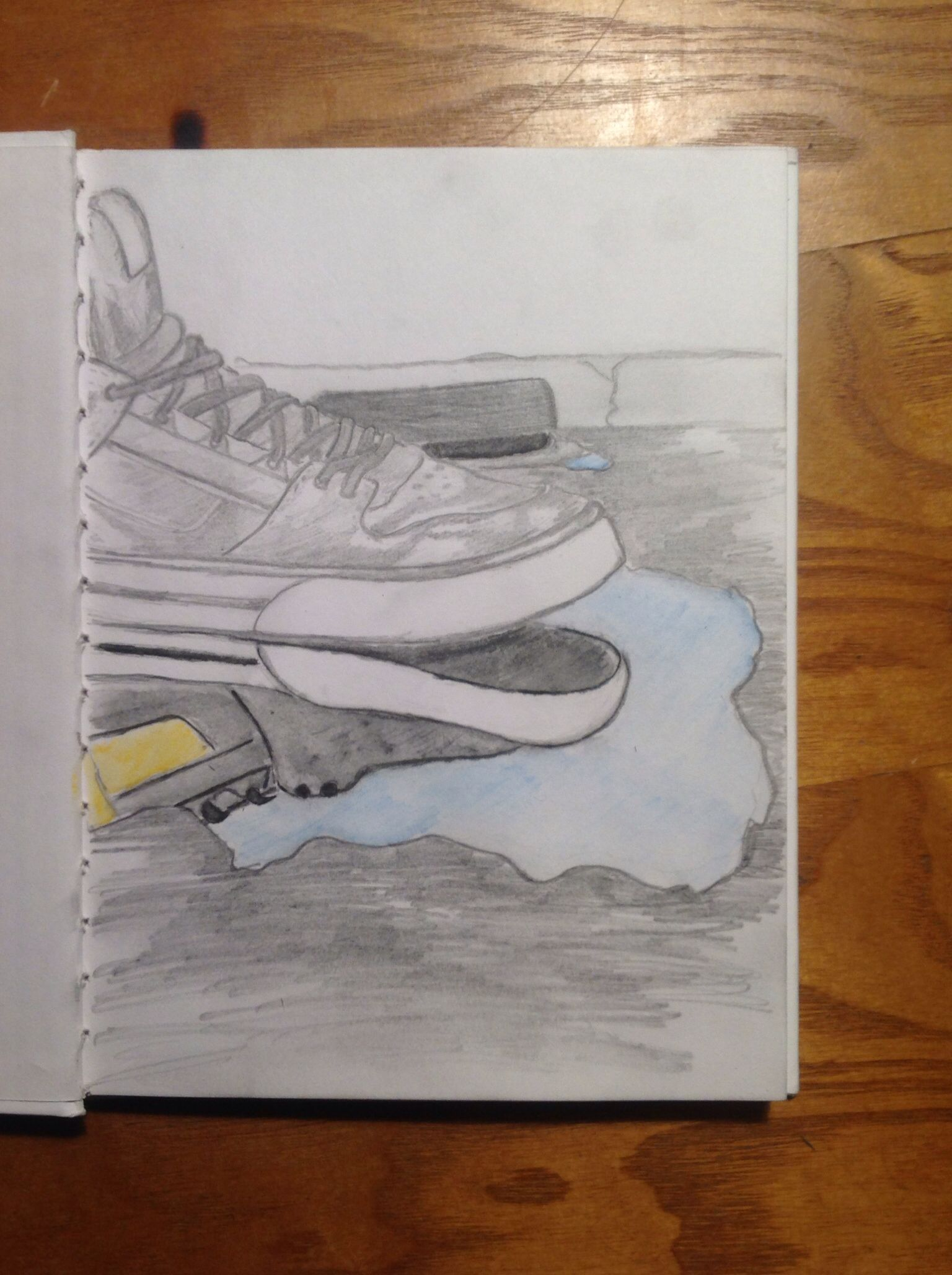 Summer project #1.) graphite drawing with watercolor reflection
