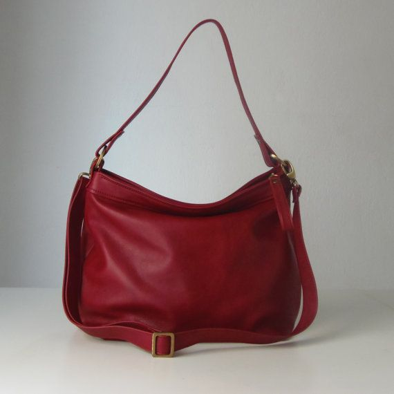 Red leather bag - Soft leather bag - Leather hobo bag - MEDIUM ...