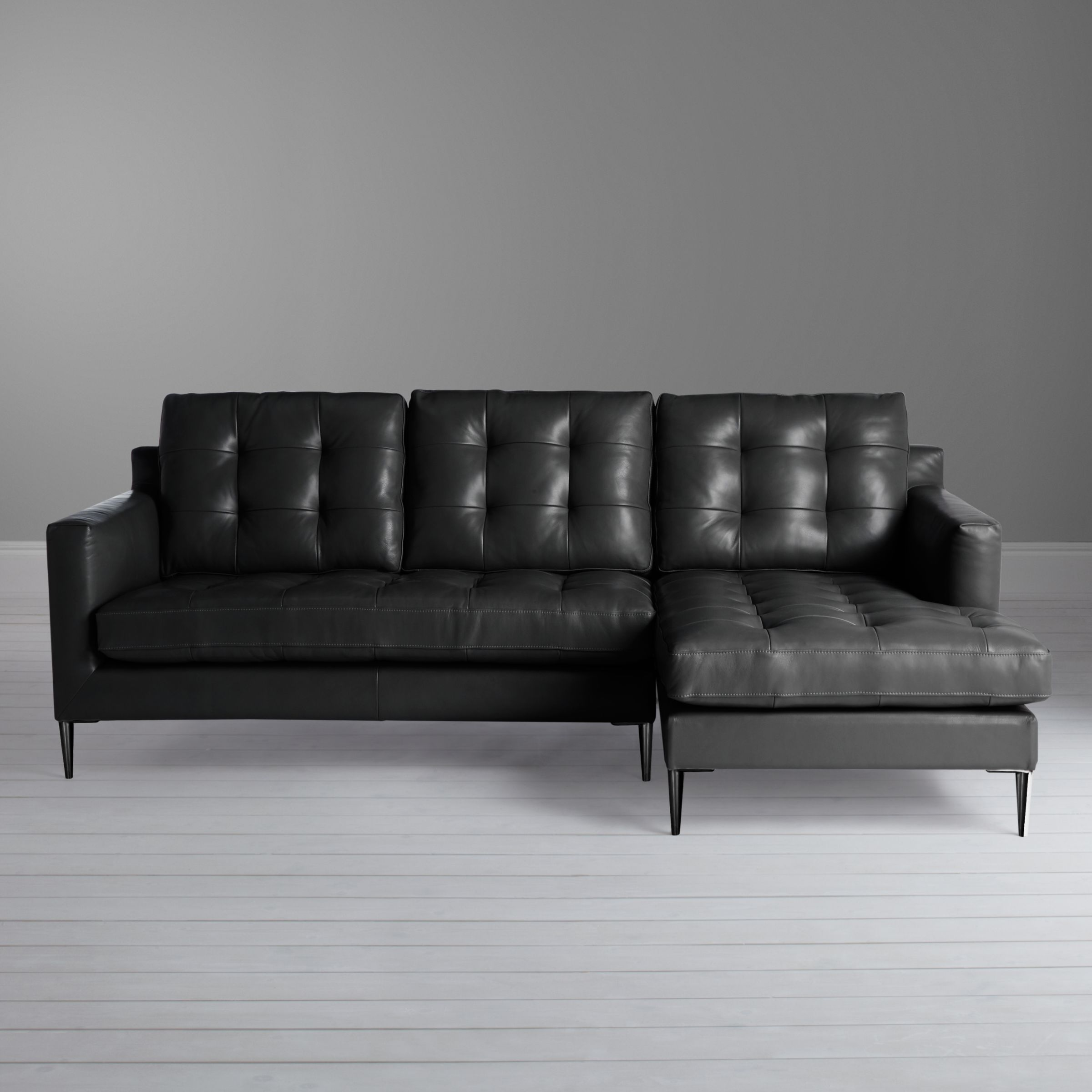John Lewis Partners Draper Rhf Chaise End Leather Sofa Metal Leg Leather Sofa Sofa Large Sofa