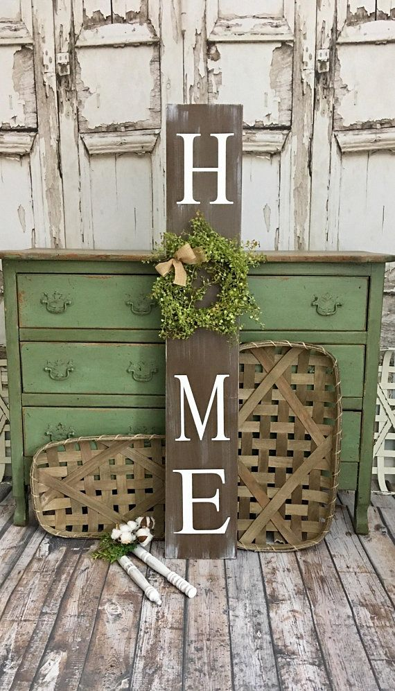 0c26fae5516ef Vertical Home Sign with Wreath. Tall Porch sign. Home Porch Sign ...