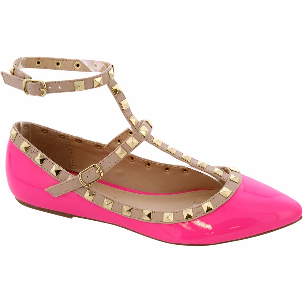 Wild Diva Lounge - Women's Nat Pointy Studs Flats - Neon Pink
