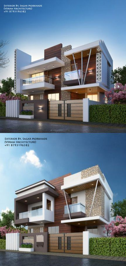 Exterior By Sagar Morkhade Vdraw Architecture 8793196382: Trendy House Front Design Modern Architecture 60 Ideas