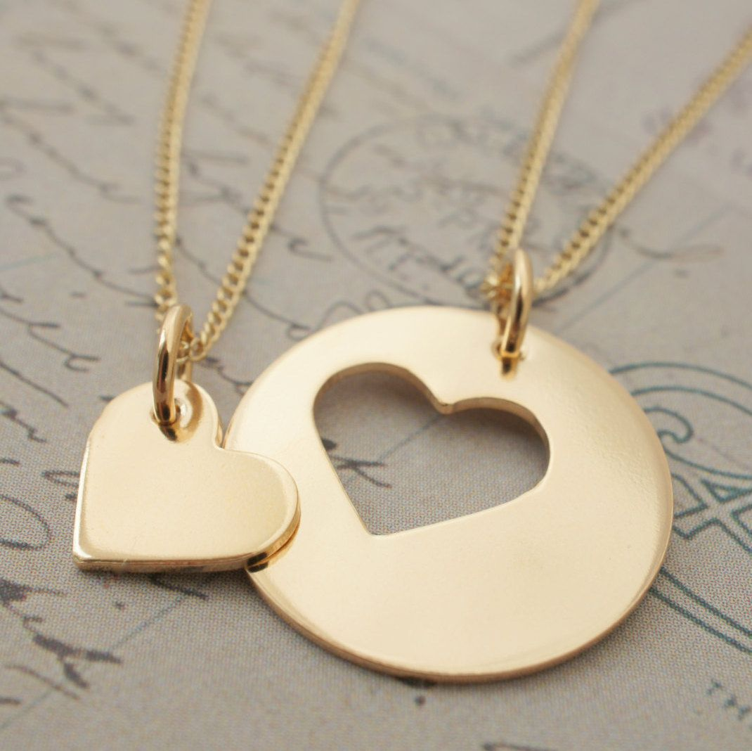 Gold filled mother daughter jewelry custom heart necklace set in