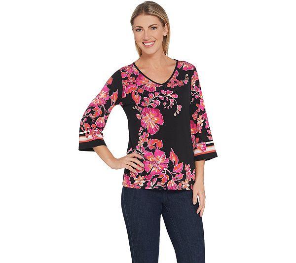 Susan Graver Printed Liquid Knit Top in 2019   Plus Size ...