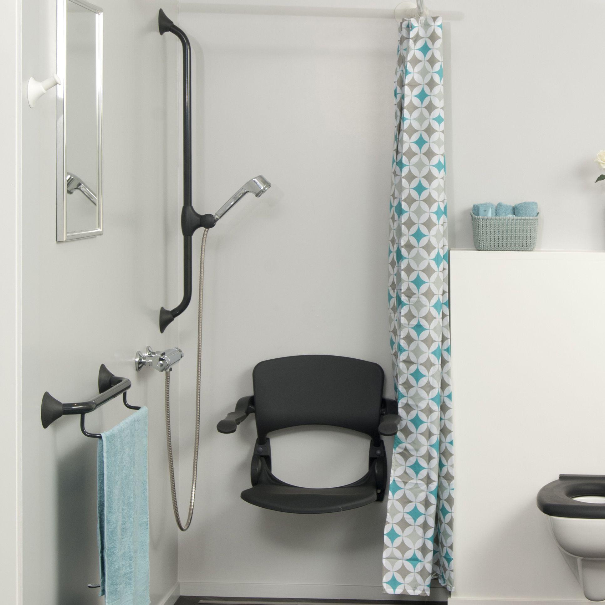 Handicare aangepaste badkamer in trendy antraciet   CareLess   Pinterest