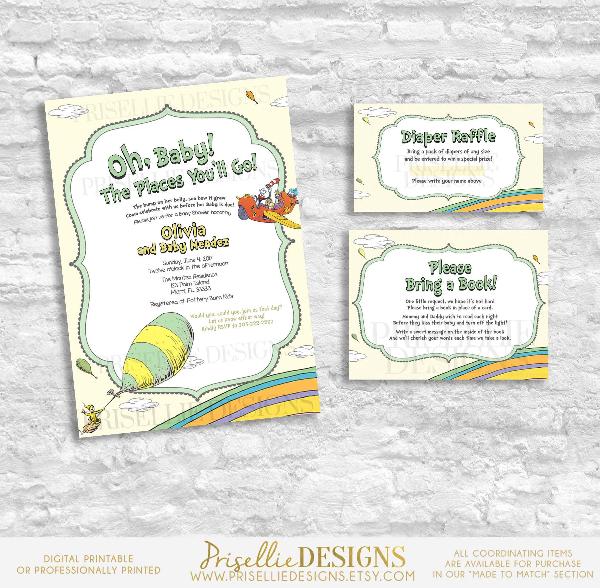 Gender Neutral Dr. Seuss Baby Shower Invitation, Oh the Places You ...