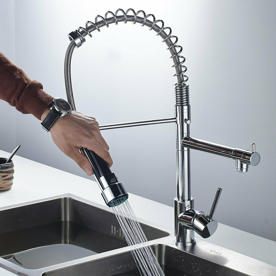 Spring Chrome Industrial Kitchen Bar Sink Faucet Pull Down Sprayer