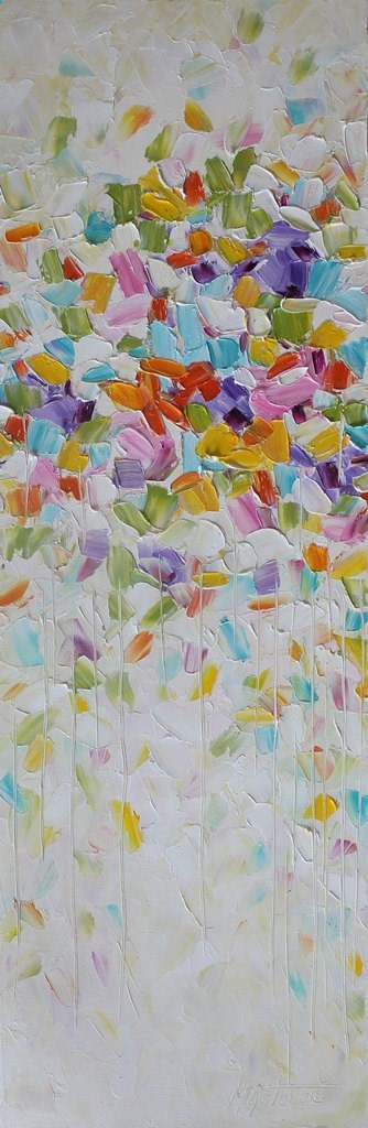 Original abstract oil painting with palette knife on canvas. TITLE: Celebrations SIZE: 12x36 MEDIUM: Oil CANVAS: Gallery wrapped canvas 1.50 thickness. The edges are painted. The frame is not needed. It is protected with a varnish. SIGNATURE: It is signed on the front. PAYMENT: Pay Pal or major Credit Cards SHIPPING: The painting is still wet, it will be dry after February 22nd. I do combine shipping, please e-mail me for discount on multiply purchases. For the international shipping p...