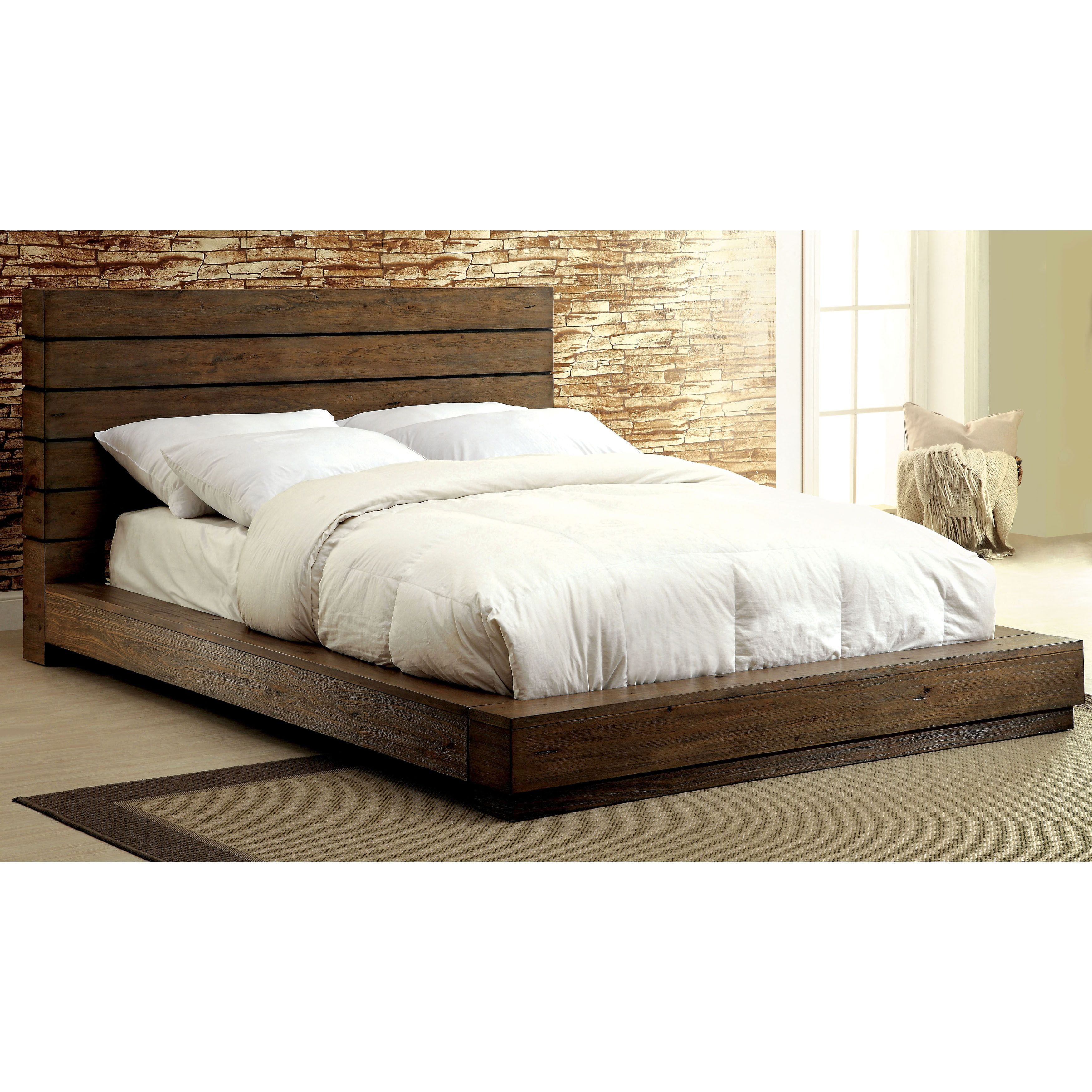Furniture Of America Emallson Rustic Natural Tone Low Profile Bed Queen Brown