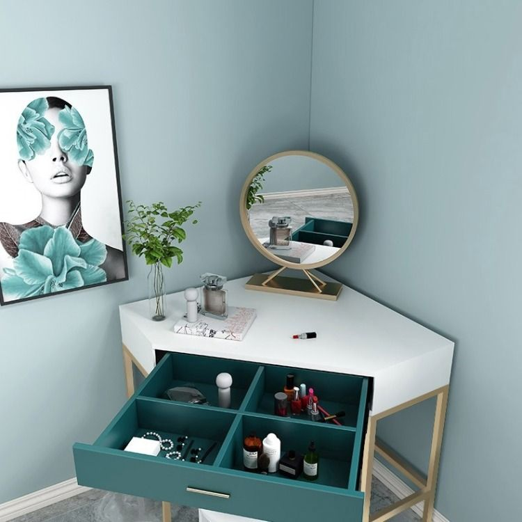 Corner Makeup Vanity With Drawer Modern Makeup Vanity Set Dressing Table With Mirror Stool White White Green In 2020 Corner Dressing Table Corner Makeup Vanity Makeup Vanity With Drawers