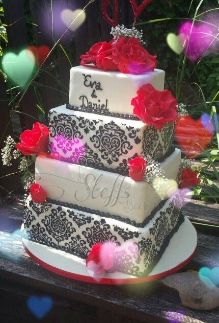 Black Red Wedding Cake Damaskus Hochzeitstorte Schwarz Rot Eigene