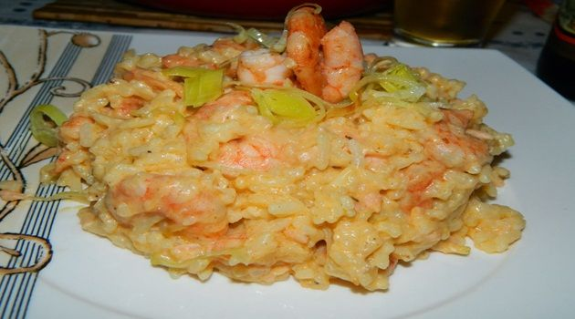 Receita de Risoto de Camarão, Salmão, Cream Cheese e Alho Poró