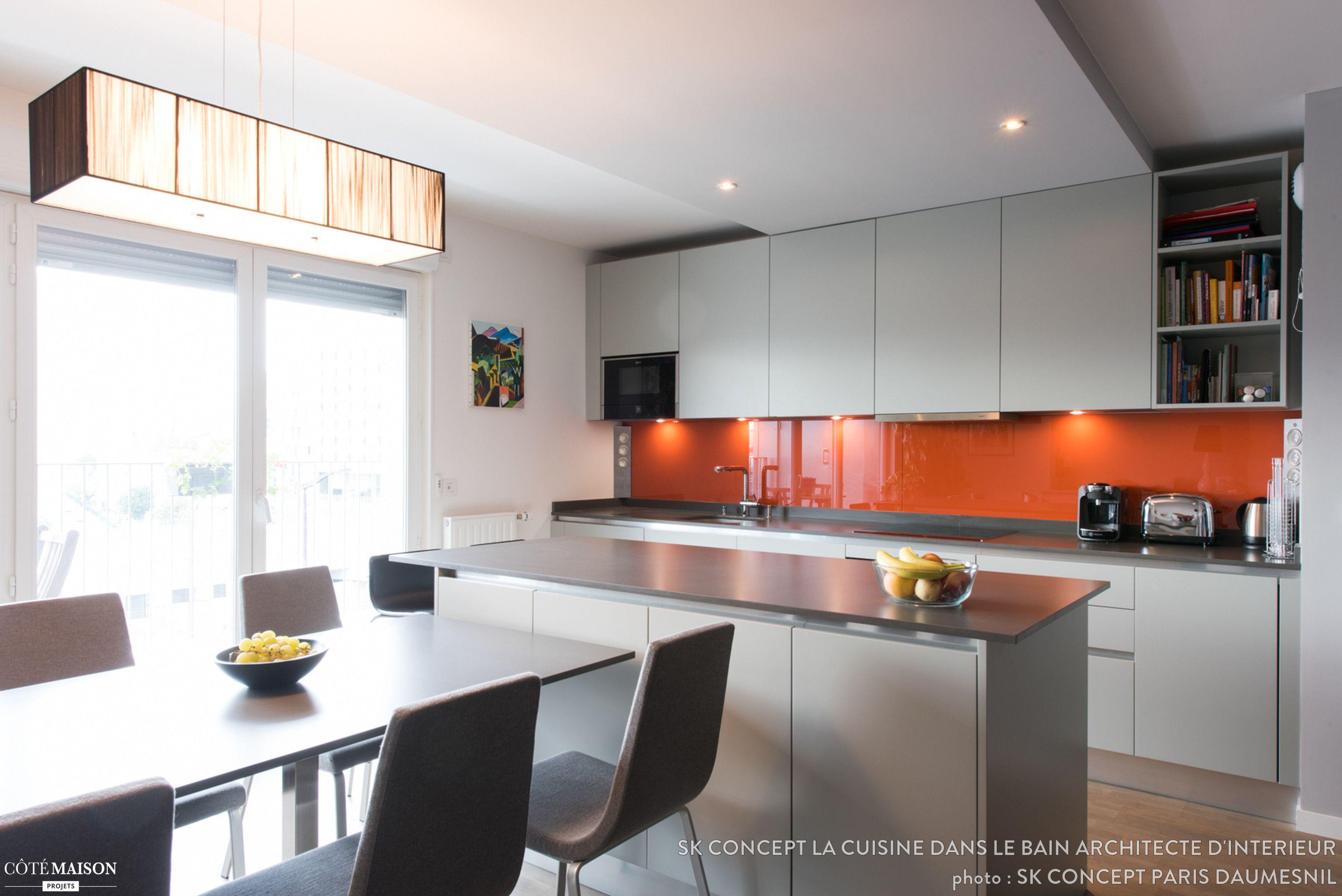Cet Appartement Neuf Situé Non Loin De La Bibliothèque François Mitterrand,  à été Aménager Par SK Concept La Cuisine Dans Le Bain, Création Du0027une  Cuisine ...