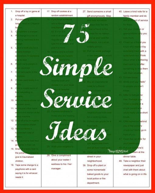 75 Simple Service Ideas