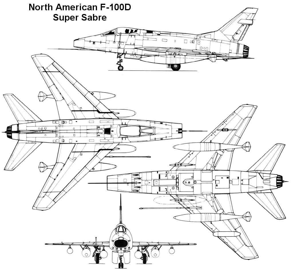 North American F-100D Super Sabre Three View   Century Series ...