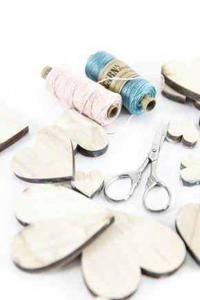 Material für selbstgemachte Herz-Wimpelkette