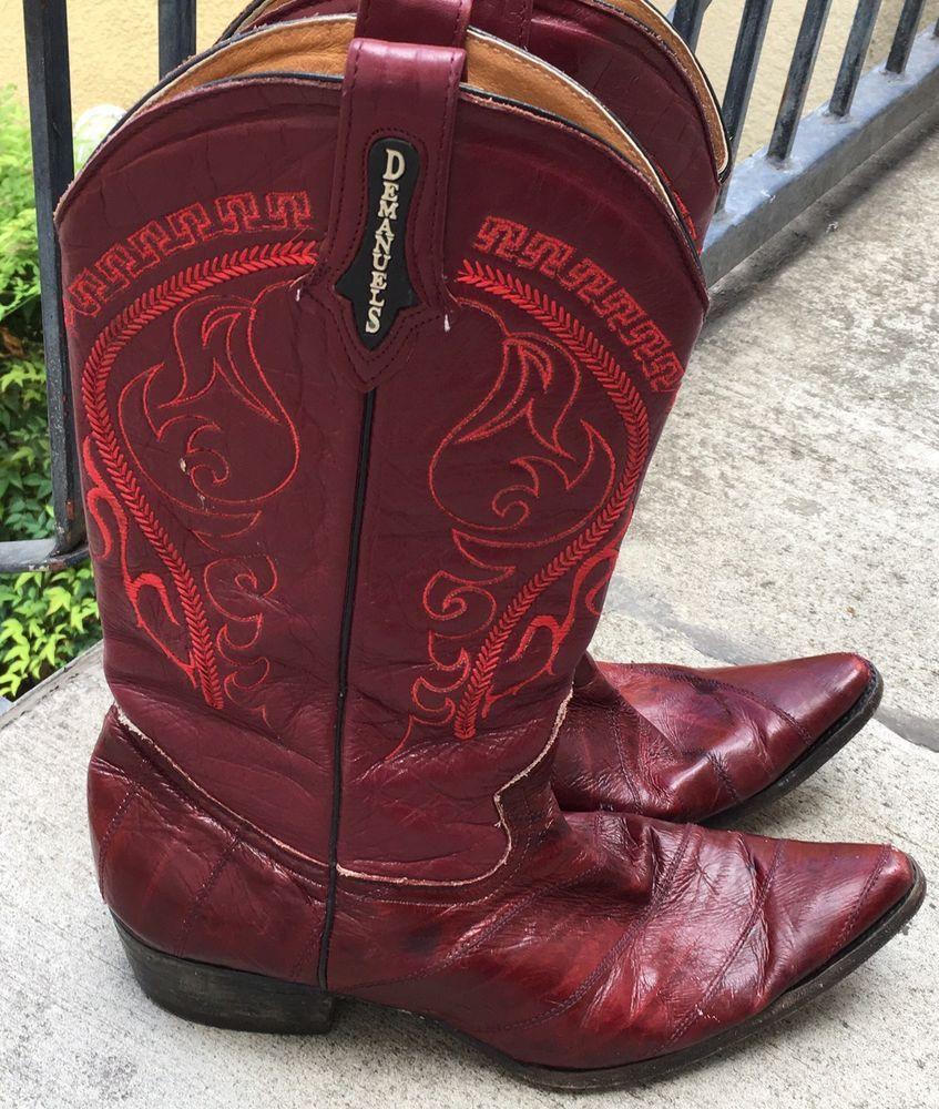 Demanuels Cowboy Boots Eel Skin Leather Mex 29 1 2 Us 10 5 Burgundy Wine Maroon Ebay Boots Cowboy Boots Burgundy Wine