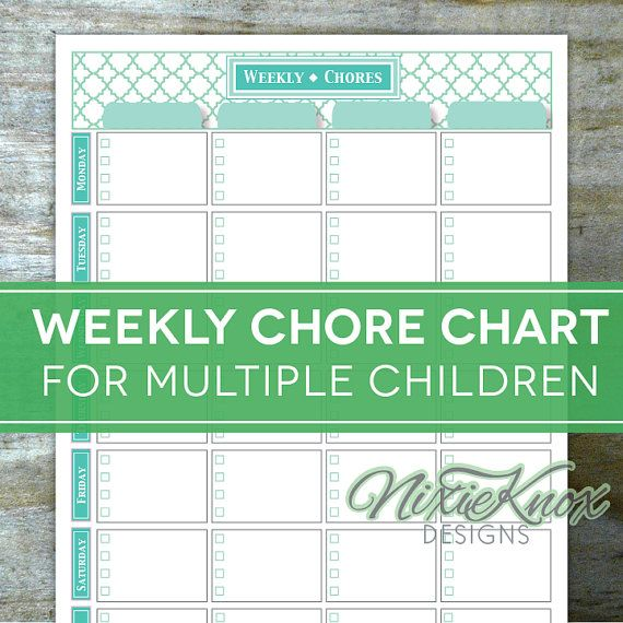 graphic relating to Printable Chore Charts for Multiple Children titled This editable and printable weekly chore chart is the ticket