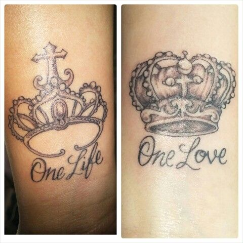 one life one love couples tattoos king and queen
