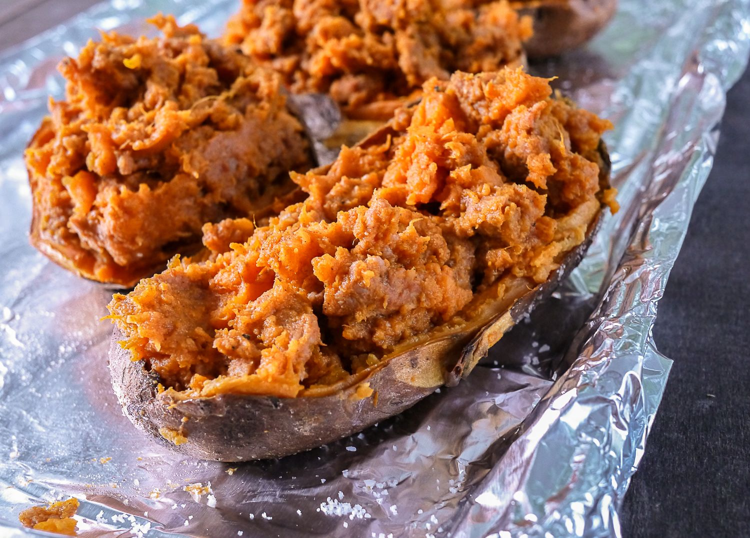 Barbells and Bellinis: Twice Baked Sweet Potatoes with Chorizo