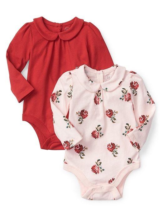 3f0e66216a6 Gap Baby Rose Peter Pan Collar Bodysuit (2-Pack) Pink Floral ...