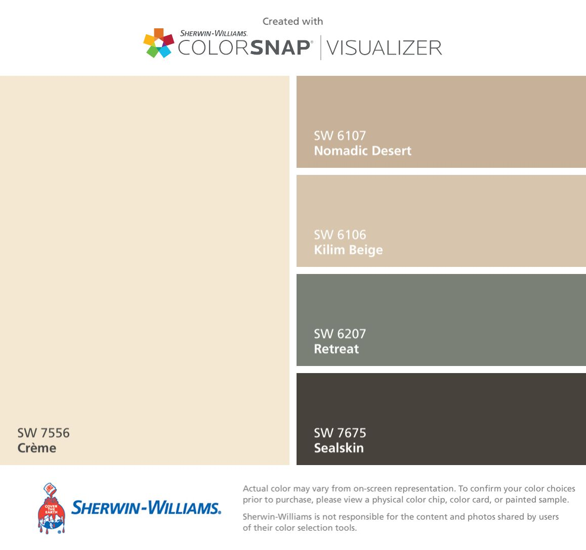 Here is our tile with my chosen paint colors from Sherwin Williams ...