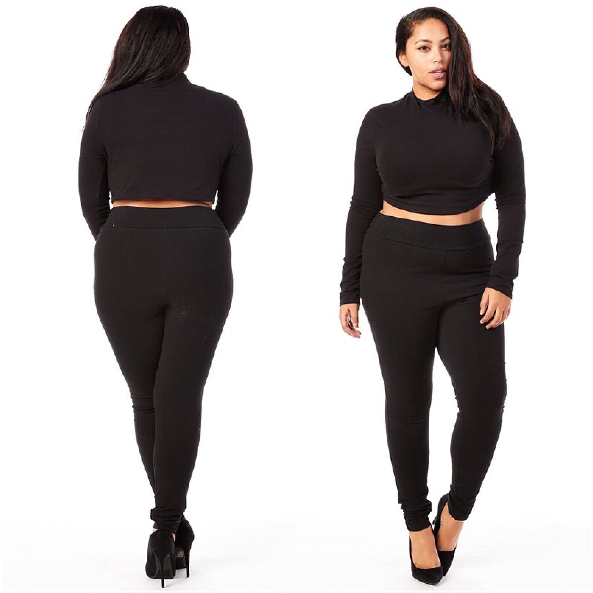 2 Piece Mock Neck Crop Top High Waisted Legging Set | Tops ...