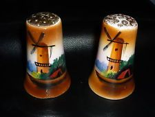 Vintage Porcelain Salt and Pepper Shakers,Hand Painted WIndmills, Made in Japan