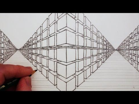 How To Draw A 3d Cube In Two Point Perspective Youtube Perspective Drawing Concept Art Drawing Point Perspective